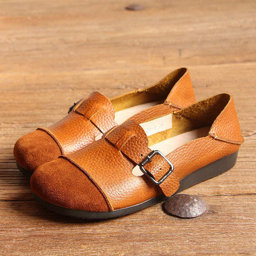 Genuine Leather Buckle Multi-Way Color Blocking Soft Flat Loafers