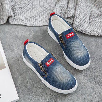 Large Size Washed Denim Zipper Loafers Flats Canvas Shoes Women Casual Slip on