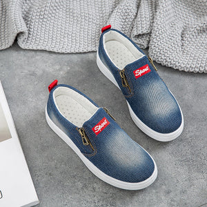 80f404a5039 Large Size Washed Denim Zipper Loafers Flats Canvas Shoes Women Casual Slip  on