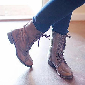 Women PU Booties Casual Comfort Lace Up Wedge Shoes
