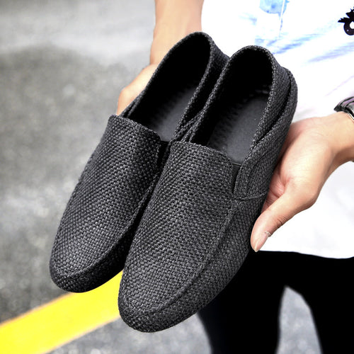 Men Woven Style Linen Stretch Collapsible Heel Casual Driving Shoes