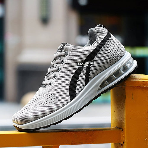 af0e79eb714 Men Knitted Fabric Slip Resistant Shock Absorption Running Sneakers