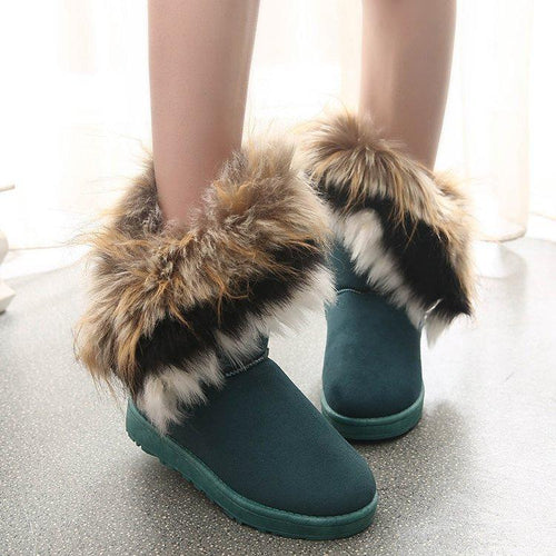 Women Snow Warm Winter Boots Lace Up Fur  Boots