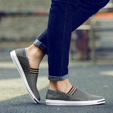 Mesh Fabric Slip on Flat Heel Casual Shoes for Men