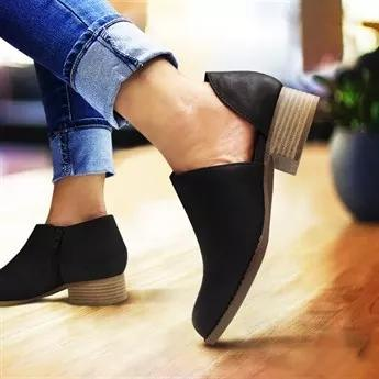 Side Cutout Synthetic Round Toe Chunky Heel Spring Fall New Stylish Casual Ankle Boots
