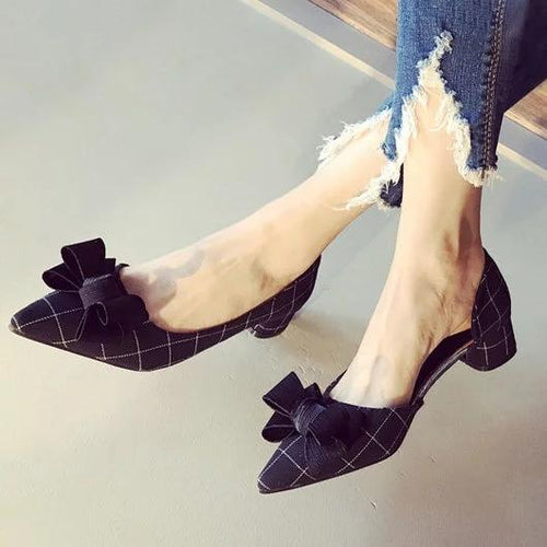 Women Cloth Pointed Toe Office Ladies Lattices Checkered Bowknot Chunky Heels