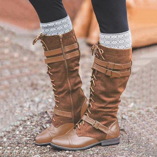 Wide Calf Vintage Lace Up Mid-calf Split Joint Boots Adjustable Buckle Low Heel Boots