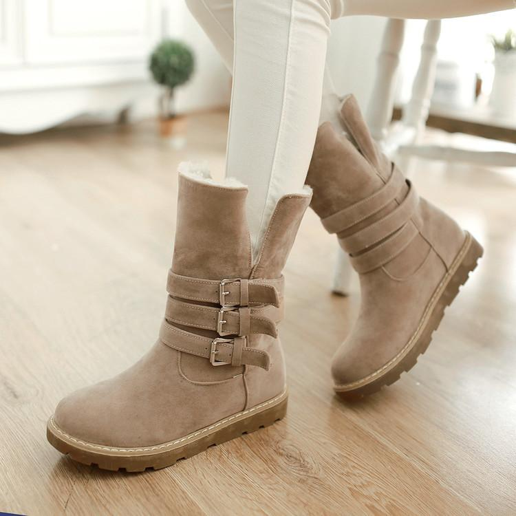 Cushioned Low-Calf Buckled Boots Low Heel Slip On Boots