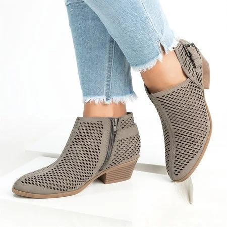 Perforated Hollow-out PU Round Toe Ankle Booties Casual Side Zipper Low Heel Boots