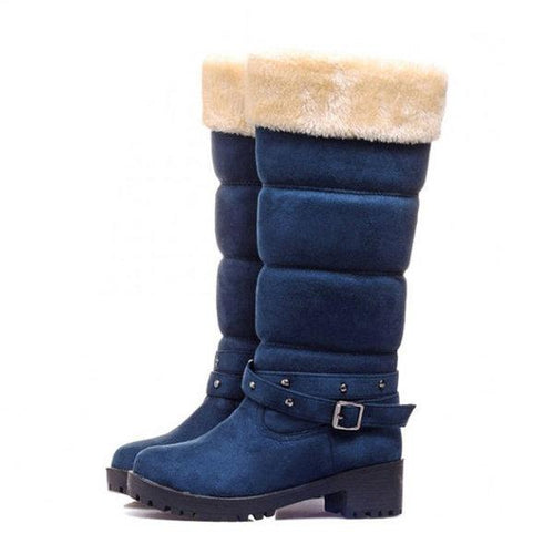 Large Size Women Winter Buckle Chunky Heel Slip On Fur Lined Snow Boots