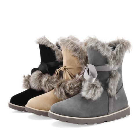 Fuzzy Faux Outdoor Boots with Pom Pom