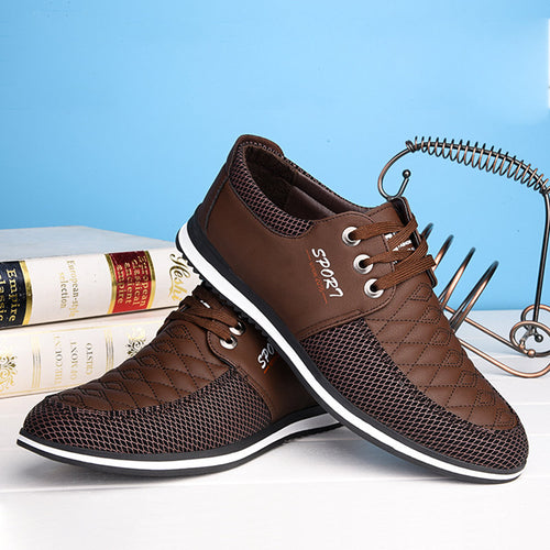 Men Plaid Moc Toe Soft Lace Up Casual Shoes