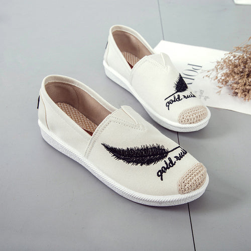 Embroidery Feather Shoes Loafers Flats Women Casual Slip On