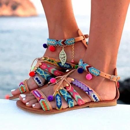 Large Size Women Summer Bohemian Multicolor Buckle Pom Pom Flat Heel Sandals