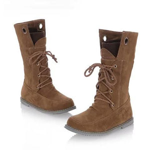Low Heel Lace-up Artificial Nubuck Women Boots