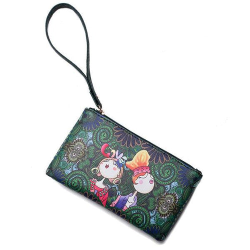 Bohemian Print Portable Long Wallet Green Forest Series Clutch Bag