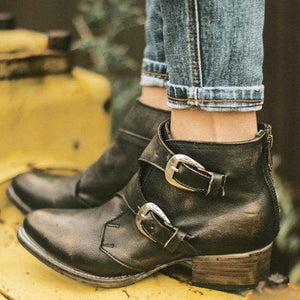 Women Fashion Motorcycle Boots Buckle Ankle Boots with Zipper