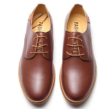 Load image into Gallery viewer, Big Size Men Pure Color Lace Up European British Style Flat Casual Oxford Shoes