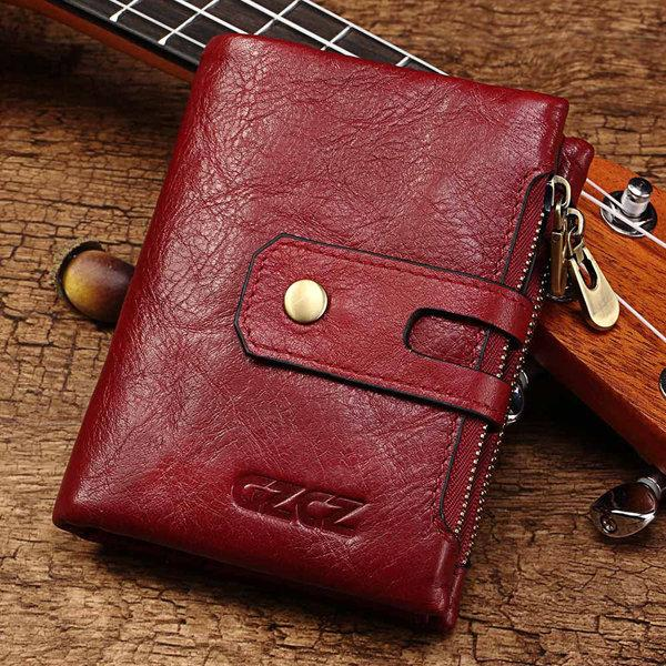 Genuine Leather Bifold Wallet Female Small Wallet Money Bag Coin Purses