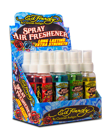 ED HARDY - AIR FRESHENER SPRAY - 12CT/DISPLAY