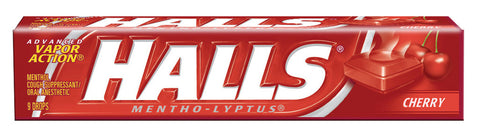 HALLS - CHERRY COUGH DROPS - 20CT/BOX