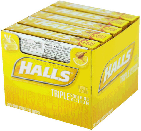 HALLS - HONEY-LEMON COUGH DROPS - 20CT/BOX