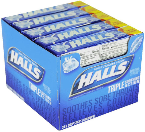 HALLS - MENTHOL-LYPTUS COUGH DROPS - 20CT/BOX