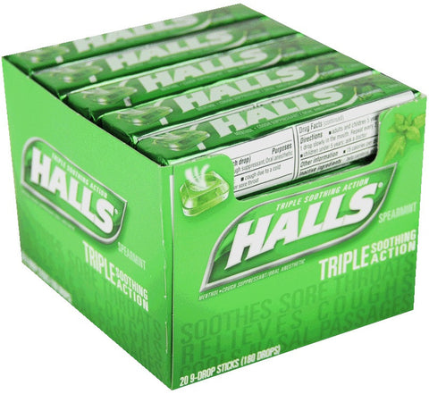HALLS - SPEARMINT COUGH DROPS - 20CT/BOX