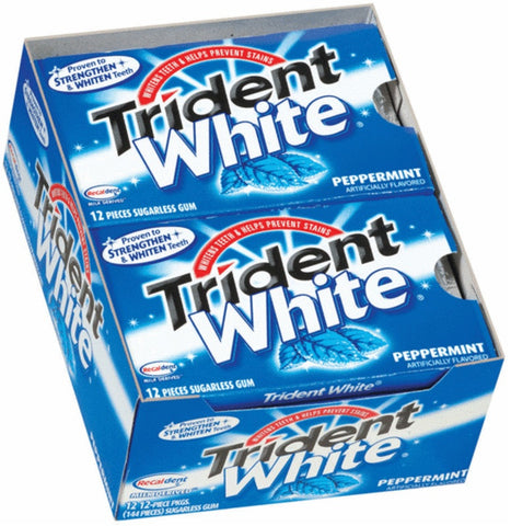 TRIDENT WHITE - PEPPERMINT GUM - 12CT/BOX