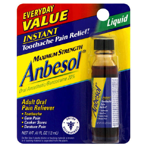 ANBESOL - REGULAR ORAL ANESTHETIC LIQUID 0.41OZ (12ML) - 6CT/UNIT