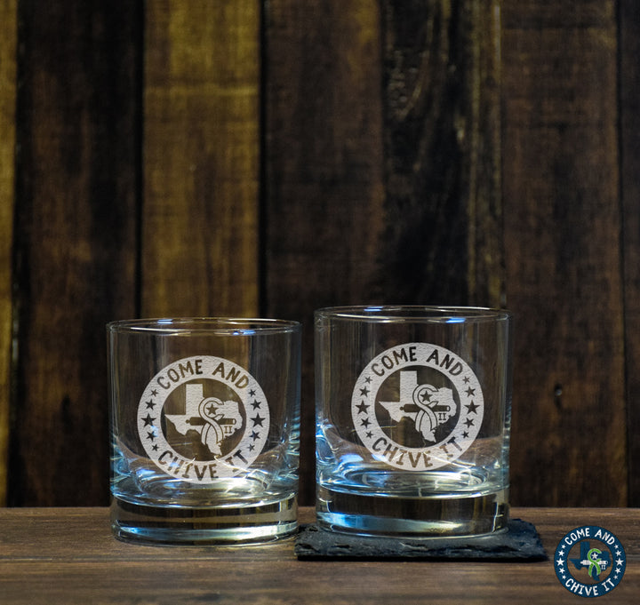 Come and Chive It Low Ball Glass Set