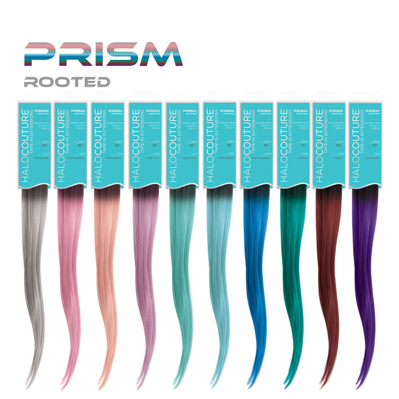 halocouture prism colored tape in hair extensions rooted color swatches