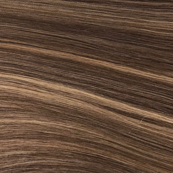 Hand Tied Weft - 4/27 | Medium Auburn Brown with Highlights