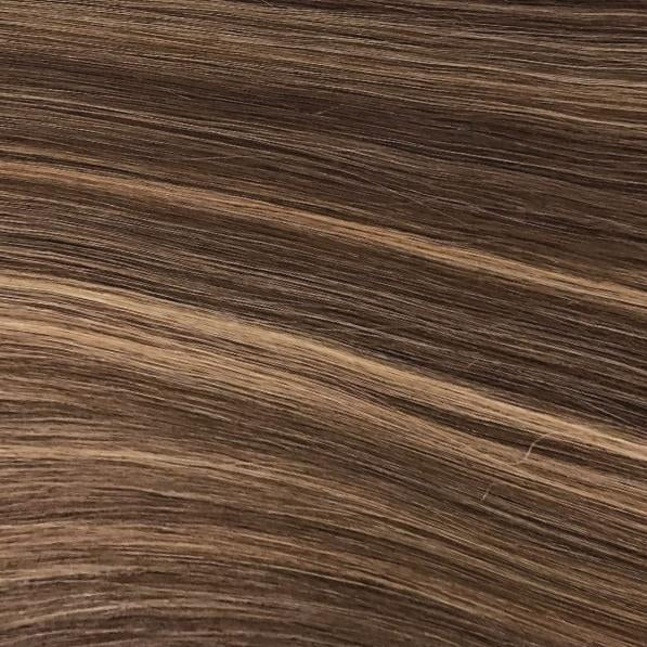 Machine Tied Weft - 4/27 | Medium Auburn Brown with Highlights