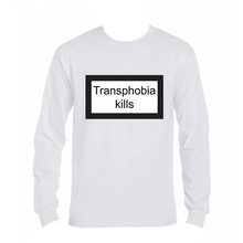 Load image into Gallery viewer, Långärmad t-shirt - valfri färg - Transphobia kills
