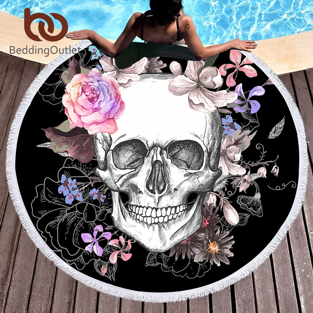 Skull Round Beach Towel - Much More Decor