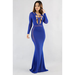 937e6c2759 Royal Blue Sheer Mesh Maxi Dress - Glam Luxe Couture