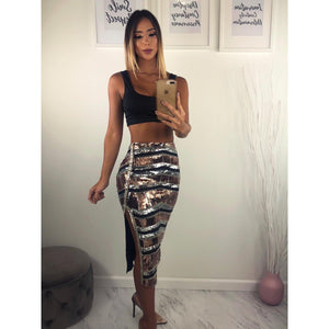 Mega Glam Sequin Skirt Set - Glam Luxe Couture