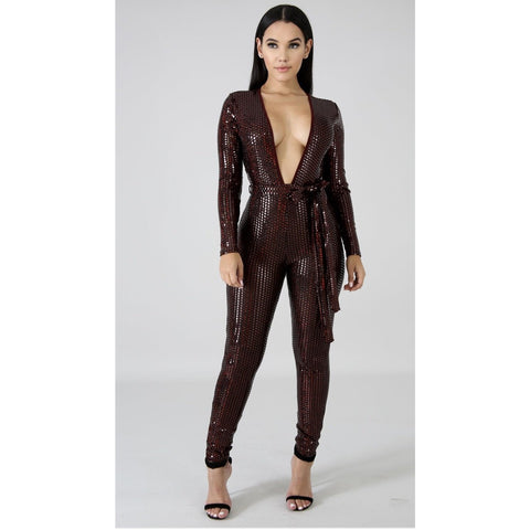 Divina Sequin Jumpsuit - Glam Luxe Couture