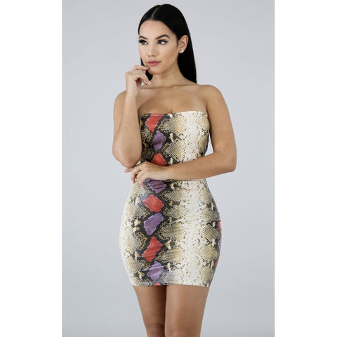 Don't Be Snaky Mini Dress - Glam Luxe Couture