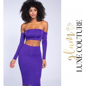 Shy Violet Two Piece Skirt Set - Glam Luxe Couture