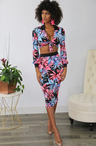 Tropical Floral Black Midi Skirt Set