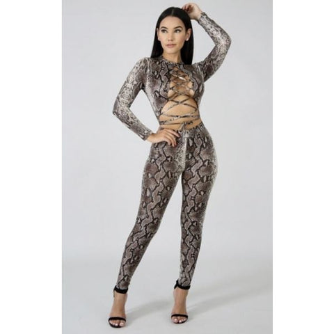 So Sassy Snake Jumpsuit - Glam Luxe Couture