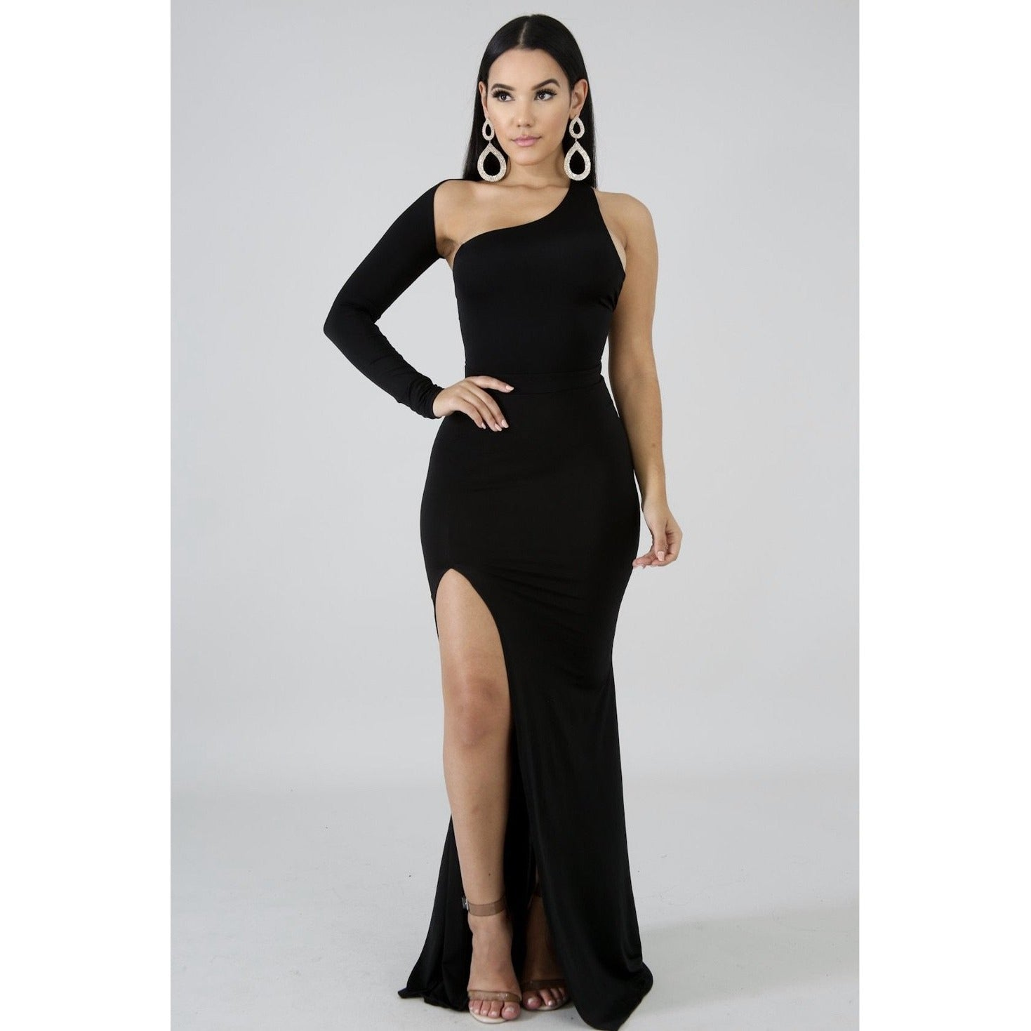 She Makes A Statement Slit Maxi Dress - Glam Luxe Couture