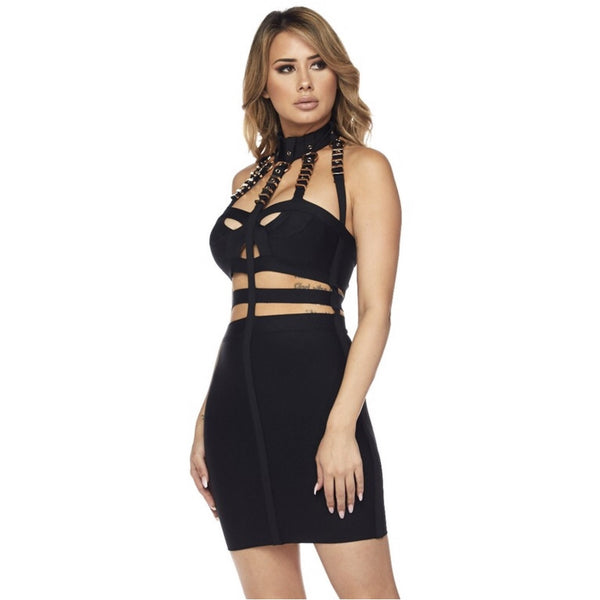 Buckle Bandage Mini  Dress - Glam Luxe Couture
