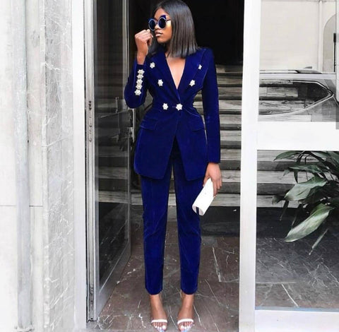 Very Executive Two Piece Velvet Pant Suit Set