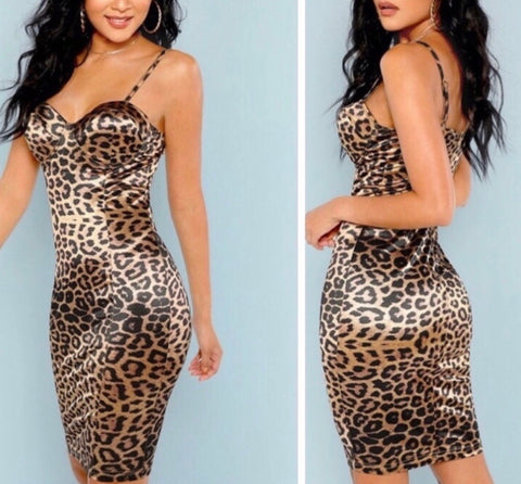 Cheetah Satin Midi Dress