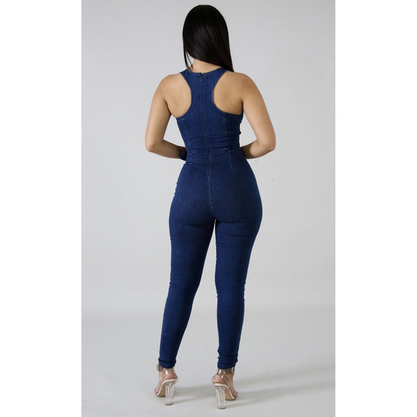 Jessy Denim Jumpsuit - Glam Luxe Couture