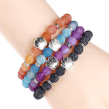 Load image into Gallery viewer, Dog Paw Stone Bead Yoga Bracelet