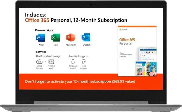 "2020 Lenovo IdeaPad 14"" Laptop Computer, AMD A6-9220e 1.6GHz, AMD Radeon R4, AC WiFi, Microsoft Office 365, Platinum Gray, Windows 10 Home"